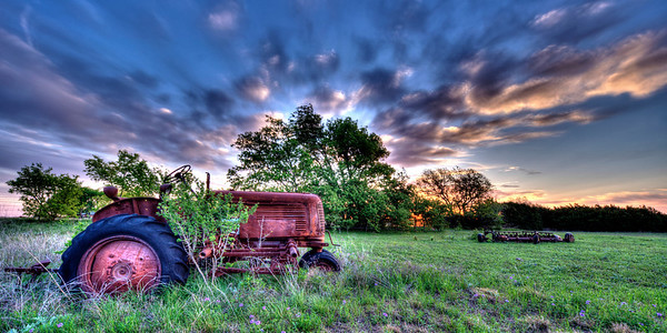 Old Oliver Tractor at Sunrise