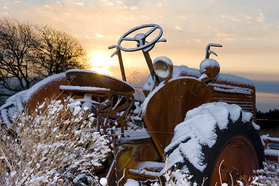 Old Oliver Sunrise  This image of our old Oliver 60 tractor was shot on a rare snowy (very cold) morning at our property in Coryell County, Texas.  Image # 20135_0030